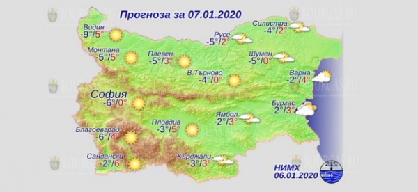 7 января Болгария в Болгарии — днем +6°С, в Причерноморье +4°С