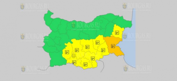 На 26-е ноября в Болгарии — дождевой Желтый код опасности