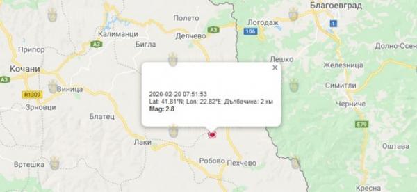 20 февраля 2020 года, на границе Македонии и Болгарии, произошло землетрясение