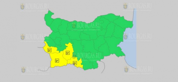 На 9 марта в Болгарии — дождливый Желтый код опасности