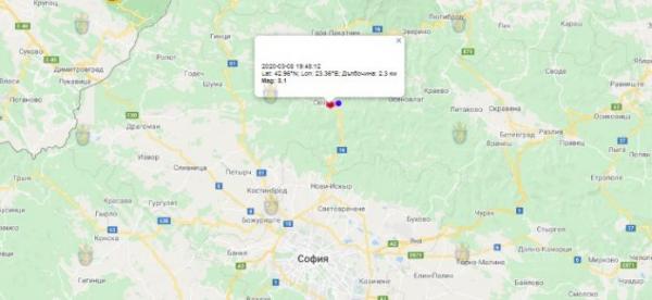 8 марта 2020 года на Западе Болгарии произошло землетрясение