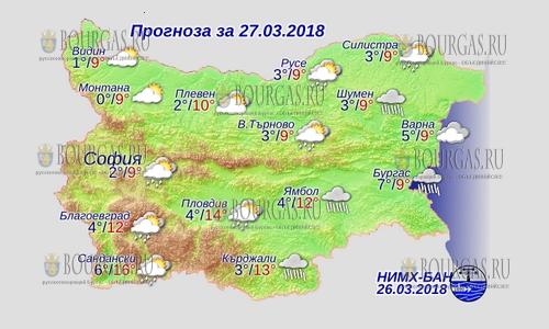 27 марта в Болгарии — осадки отступили, днем +16, в Причерноморье +9°С