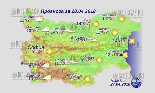 28 апреля в Болгарии — днем +30°С, в Причерноморье +19°С