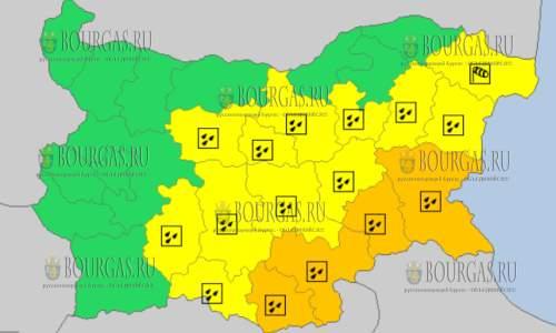 25 октября в Болгарии — дождливый и ветренный Оранжевый и Желтый коды опасности