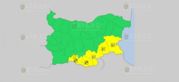 На 2 апреля в Болгарии — дождевой и гололедный Желтый код опасности