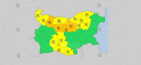 На 25-е июня в Болгарии — дождливый и грозовой Оранжевый Желтый коды опасности