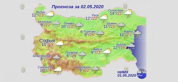 2 мая в Болгарии — днем +24°С, в Причерноморье +21°С