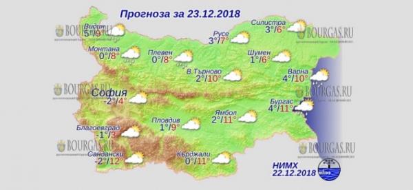 23 декабря в Болгарии — днем +12°С, в Причерноморье +11°С