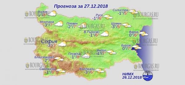 27 декабря в Болгарии — днем +8°С, в Причерноморье +7°С