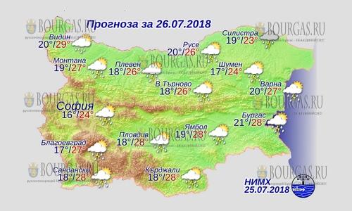 26 июля в Болгарии — на всей территории дожди и грозы, днем +29°С, в Причерноморье +28°С