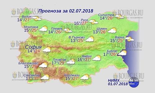 2 июля в Болгарии — днем +30°С, в Причерноморье +26°С