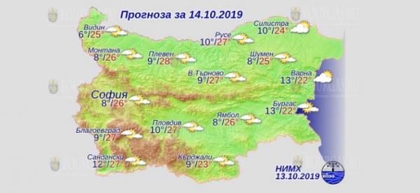 14 октября в Болгарии — днем +27°С, в Причерноморье +22°С