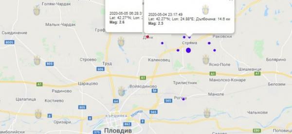 5-го мая 2020 года на Юге Болгарии произошло несколько землетрясений