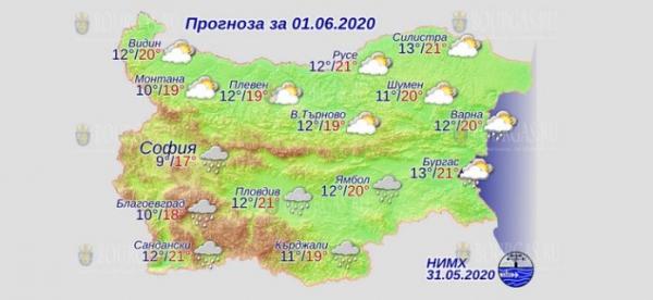 1 июня в Болгарии — днем +21°С, в Причерноморье +21°С