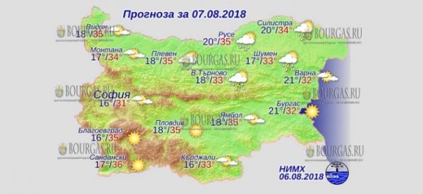 7 августа в Болгарии — впервые в текущем летнем сезоне днем +36°С, в Причерноморье +31°С