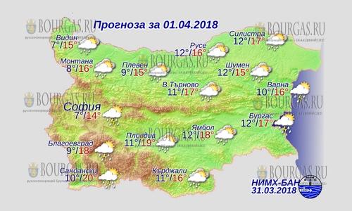 1 апреля в Болгарии — задождило, днем +20, в Причерноморье +17°С