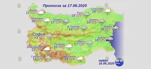 17 июня в Болгарии — днем +27°С, в Причерноморье +25°С