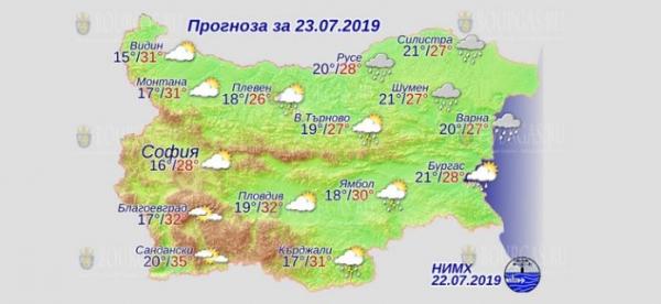 23 июля в Болгарии — днем +35°С, в Причерноморье +28°С