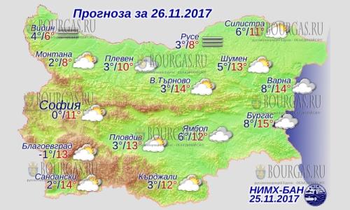 26 ноября в Болгарии — туманы, днем до +14°С, в Причерноморье +15°С