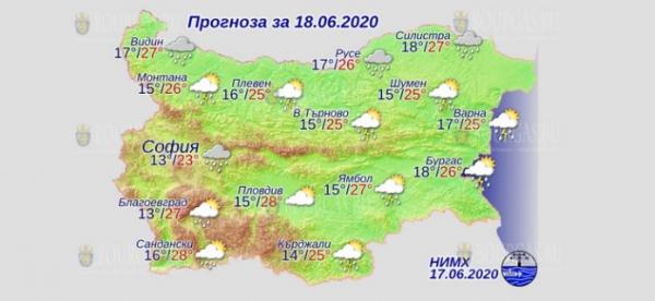 18 июня в Болгарии — днем +28°С, в Причерноморье +26°С