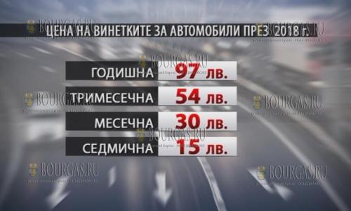 О ценах на виньетки в Болгарии в 2018 году