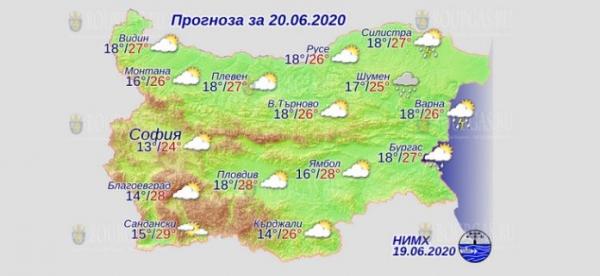 20 июня в Болгарии — днем +29°С, в Причерноморье +27°С