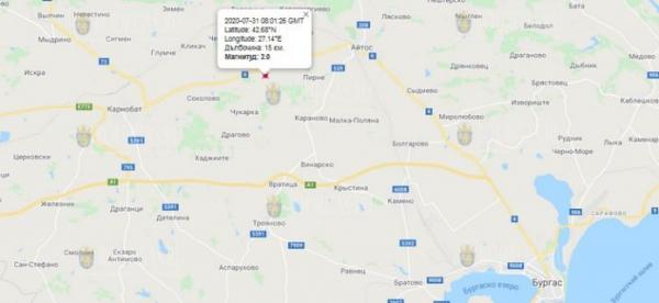 31-го июля 2020 года на Востоке Болгарии произошло землетрясение