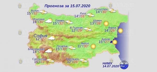 15 июля в Болгарии — днем +32°С, в Причерноморье +27°С