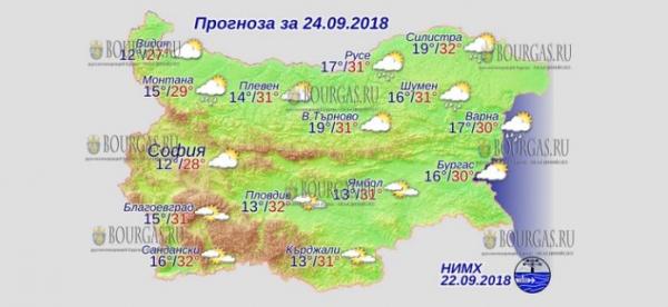 24 сентября в Болгарии — днем +32°С, в Причерноморье +30°С