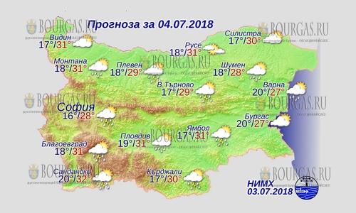 4 июля в Болгарии — снова дожди и грозы, днем +32°С, в Причерноморье +27°С