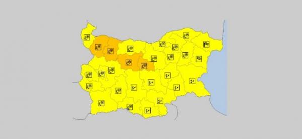 На 24 марта в Болгарии — ветреный и гололедный Оранжевый и Желтый код опасности
