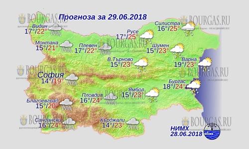 29 июня в Болгарии — повсеместно непогода, днем +25°С, в Причерноморье +24°С