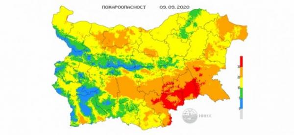 9-го сентября в 5 областях Болгарии объявлен Красный код пожароопасности