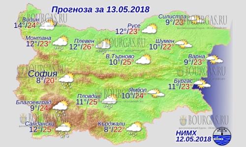 13 мая в Болгарии — дожди в центре и на западе, днем +25°С, в Причерноморье +23°С