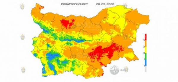 20-го сентября в 7 областях Болгарии объявлен Красный код пожароопасности