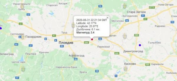 1-го сентября 2020 года в Центре Болгарии произошло землетрясение