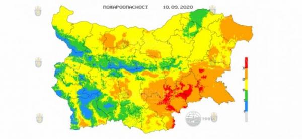 10-го сентября в 6 областях Болгарии объявлен Красный код пожароопасности
