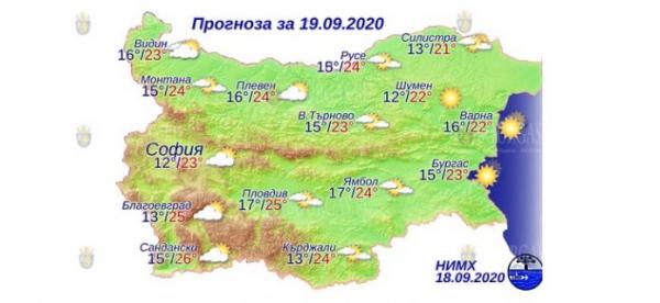 19 сентября в Болгарии — днем +26°С, в Причерноморье +23°С