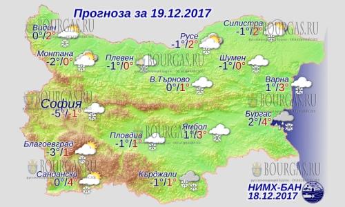 19 декабря в Болгарии — повсеместно снег, днем до +4°С, в Причерноморье +4°С