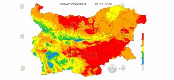 15-го сентября в 26 областях Болгарии объявлен Красный код пожароопасности