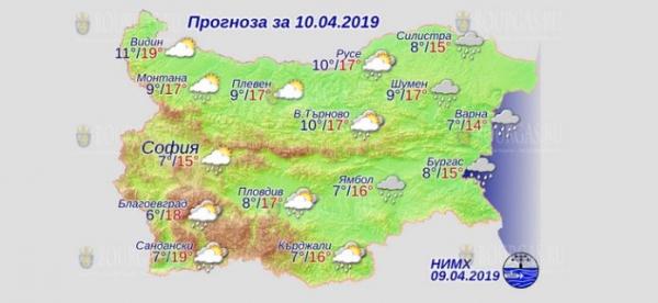 10 апреля в Болгарии — днем +19°С, в Причерноморье +15°С