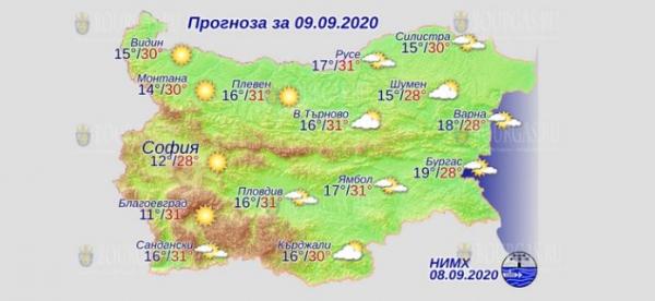 8 сентября в Болгарии — днем +31°С, в Причерноморье +28°С