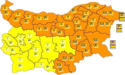 22 января в Болгарии — ветреный и дождливый Желтый и Оранжевый коды опасности