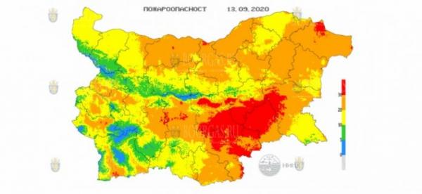 13-го сентября в 12 областях Болгарии объявлен Красный код пожароопасности