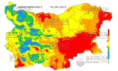 18 августа 2017 года в Болгарии экстремальный индекс пожарной опасности