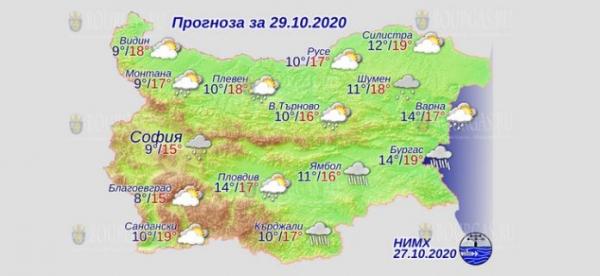29 октября в Болгарии — днем +19°С, в Причерноморье +19°С