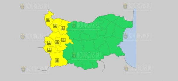 На 19 октября в Болгарии — холодный Желтый код опасности