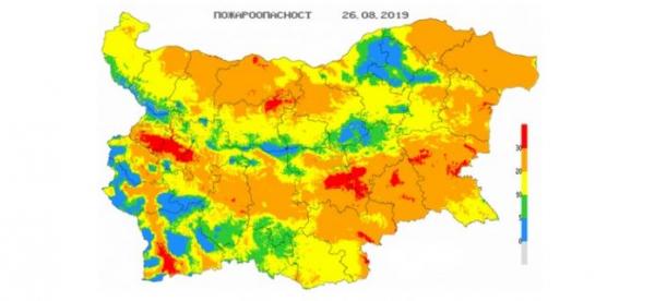 В 10 областях Болгарии объявлен Красный код пожароопасности..