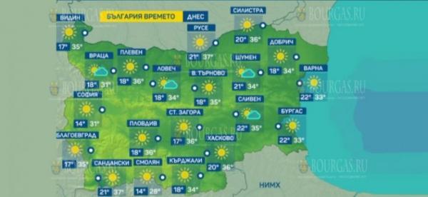 30 июля в Болгарии — днем +37°С, в Причерноморье +33°С