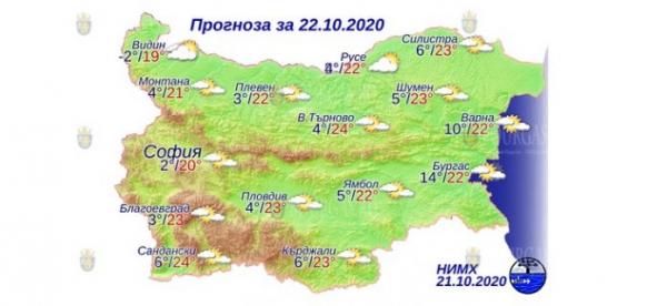 22 октября в Болгарии — днем +24°С, в Причерноморье +22°С